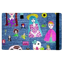 Blue Denim And Drawings Apple iPad Mini 4 Flip Case