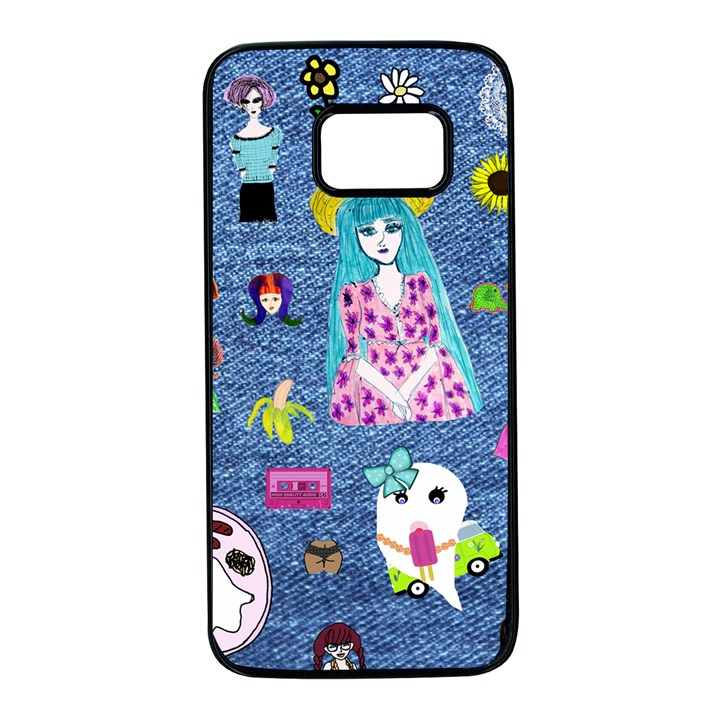 Blue Denim And Drawings Samsung Galaxy S7 Black Seamless Case