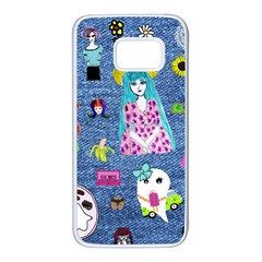 Blue Denim And Drawings Samsung Galaxy S7 White Seamless Case