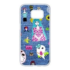 Blue Denim And Drawings Samsung Galaxy S7 edge White Seamless Case