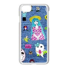 Blue Denim And Drawings iPhone 7 Seamless Case (White)