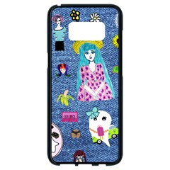 Blue Denim And Drawings Samsung Galaxy S8 Black Seamless Case