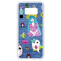 Blue Denim And Drawings Samsung Galaxy S8 White Seamless Case