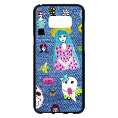 Blue Denim And Drawings Samsung Galaxy S8 Plus Black Seamless Case