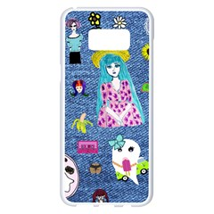 Blue Denim And Drawings Samsung Galaxy S8 Plus White Seamless Case