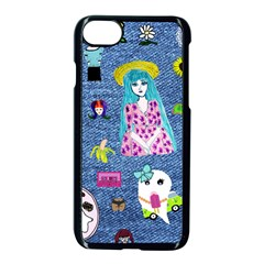 Blue Denim And Drawings iPhone 8 Seamless Case (Black)