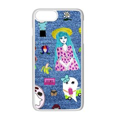 Blue Denim And Drawings iPhone 8 Plus Seamless Case (White)