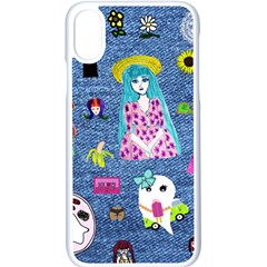 Blue Denim And Drawings iPhone X Seamless Case (White)