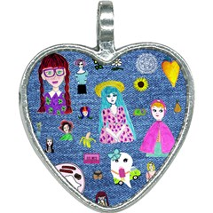 Blue Denim And Drawings Heart Necklace