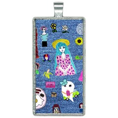 Blue Denim And Drawings Rectangle Necklace