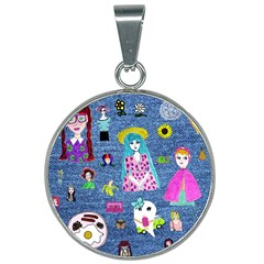Blue Denim And Drawings 25mm Round Necklace