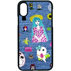 Blue Denim And Drawings iPhone XS Seamless Case (Black)