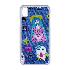 Blue Denim And Drawings iPhone XR Seamless Case (White)