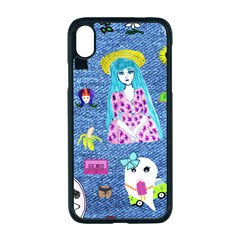 Blue Denim And Drawings iPhone XR Seamless Case (Black)