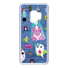 Blue Denim And Drawings Samsung Galaxy S9 Seamless Case(White)