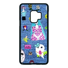 Blue Denim And Drawings Samsung Galaxy S9 Seamless Case(Black)