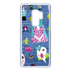 Blue Denim And Drawings Samsung Galaxy S9 Plus Seamless Case(White)