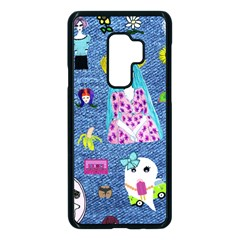 Blue Denim And Drawings Samsung Galaxy S9 Plus Seamless Case(Black)