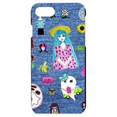 Blue Denim And Drawings iPhone 7/8 Black UV Print Case