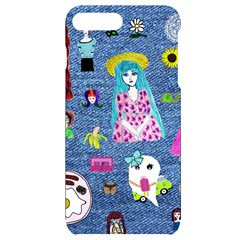Blue Denim And Drawings iPhone 7/8 Plus Black UV Print Case