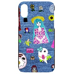 Blue Denim And Drawings iPhone XR Black UV Print Case