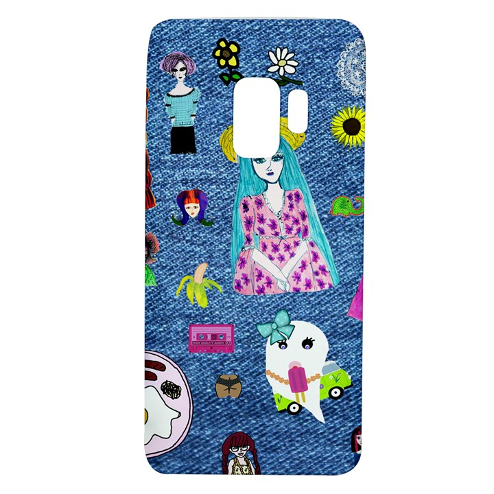 Blue Denim And Drawings Samsung Galaxy S9 TPU UV Case