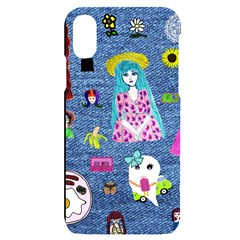 Blue Denim And Drawings iPhone X/XS Black UV Print Case