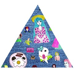 Blue Denim And Drawings Wooden Puzzle Triangle