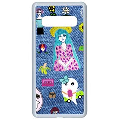 Blue Denim And Drawings Samsung Galaxy S10 Seamless Case(White)