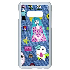 Blue Denim And Drawings Samsung Galaxy S10e Seamless Case (White)