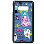 Blue Denim And Drawings Samsung Galaxy S10e Seamless Case (Black) Front