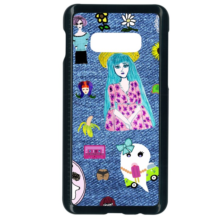 Blue Denim And Drawings Samsung Galaxy S10e Seamless Case (Black)