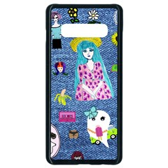 Blue Denim And Drawings Samsung Galaxy S10 Plus Seamless Case (Black)