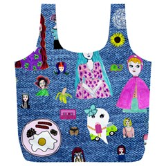 Blue Denim And Drawings Full Print Recycle Bag (XXXL)