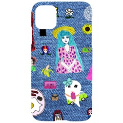 Blue Denim And Drawings iPhone 11 Black UV Print Case