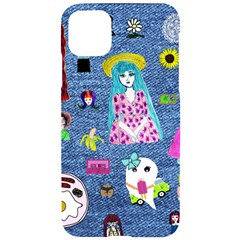 Blue Denim And Drawings iPhone 11 Pro Max Black UV Print Case