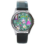Blue Denim And Drawings Daisies Aqua Round Metal Watch Front