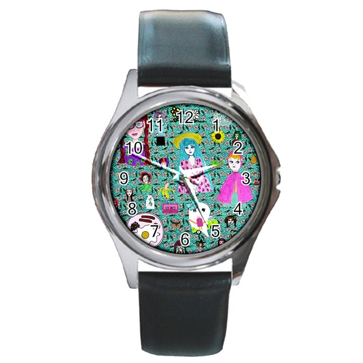 Blue Denim And Drawings Daisies Aqua Round Metal Watch