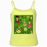 Blue Denim And Drawings Daisies Aqua Yellow Spaghetti Tank Front