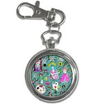 Blue Denim And Drawings Daisies Aqua Key Chain Watches Front