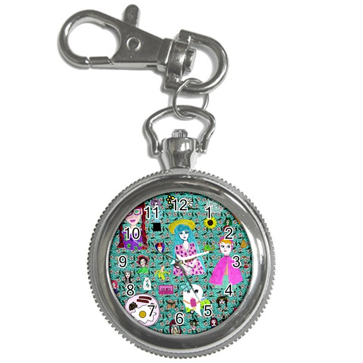 Blue Denim And Drawings Daisies Aqua Key Chain Watches