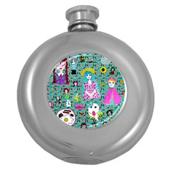 Blue Denim And Drawings Daisies Aqua Round Hip Flask (5 Oz) by snowwhitegirl