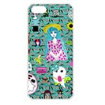 Blue Denim And Drawings Daisies Aqua iPhone 5 Seamless Case (White) Front