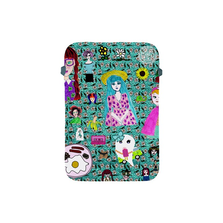 Blue Denim And Drawings Daisies Aqua Apple iPad Mini Protective Soft Cases