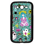 Blue Denim And Drawings Daisies Aqua Samsung Galaxy Grand DUOS I9082 Case (Black) Front