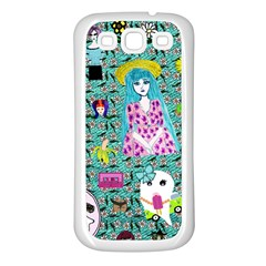 Blue Denim And Drawings Daisies Aqua Samsung Galaxy S3 Back Case (white)