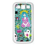 Blue Denim And Drawings Daisies Aqua Samsung Galaxy S3 Back Case (White) Front