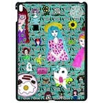 Blue Denim And Drawings Daisies Aqua Apple iPad Pro 9.7   Black Seamless Case Front