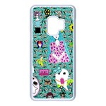Blue Denim And Drawings Daisies Aqua Samsung Galaxy S9 Seamless Case(White) Front