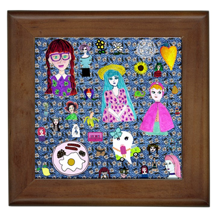 Blue Denim And Drawings Daisies Framed Tile